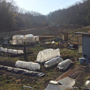不恰好な透明マルチを利用したトンネル作り、ハウスの下の耕し、畝つくり、米ぬか発酵の切り返し、バーク堆肥の移動
